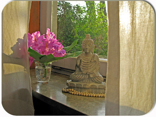 buddha and rhododendron