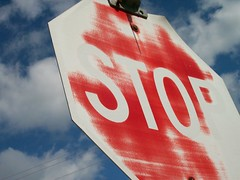 Stop is Optional (Artista Piccolo) Tags: red sky white sign stop fade