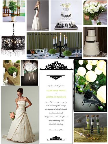 Ivory and black dress damask stensil cake hydrangeas