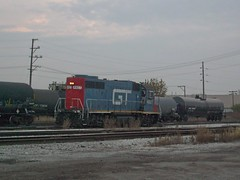 A former GTW diesel roadswitcher acquired by the CN through merger, is seen at work at the former Illinois Central Crawford Yard. Chicago Illinois. Early November 2007.