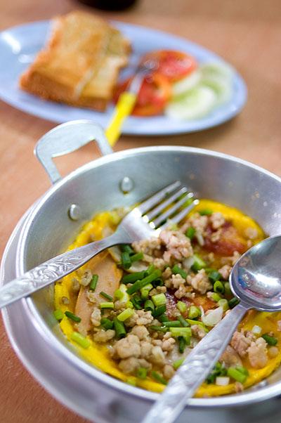Khai katha, an egg dish of apparent Vietnamese origin, Nakhorn Phnom, Thailand