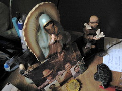 saints in the corner of tia lu's desk (parttimefarm) Tags: brasil desk saints collections chacara echapora