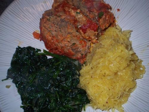 meatloaf spaghetti squash spinach