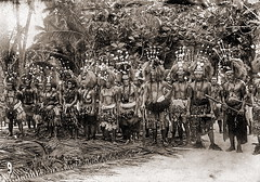 Samoan Warriors / ca. 1900 (ookami_dou) Tags: vintage polynesia chief warrior samoa headdress tuiga festivaldress warclub dancingknife