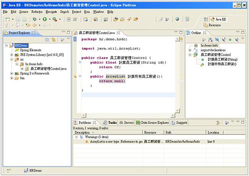 圖 8、新增第一個 Java Class 後 Java EE 的 Layout