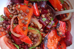 Dinner (on a different day!) (Bowhaus) Tags: yum onions courgettes roastedpeppers puylentils dsc6377 freshbeetroot feministjuliewouldlovethis ohandabitofparsleyithink ©francescabondyallrightsreserved