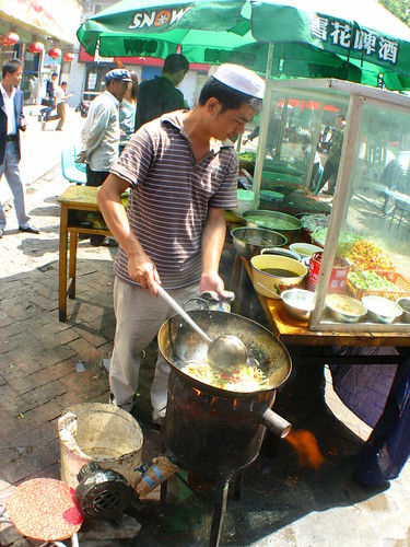 Street-side cooking in Lanzhou, Gansu Province, China