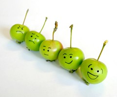 The emotional apples (JenniPenni) Tags: green happy dof sad faces angry 365 emotions miniapples overtheexcellence