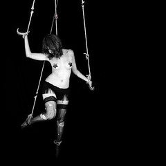 Life in a Cabaret. (xelia.) Tags: selfportrait stockings suspension puppet fringe rope hanging strings cabaret attached marionette pasties controlled its5amandihaventsleptyet marionettemilitia ijustcantseemtofallasleep