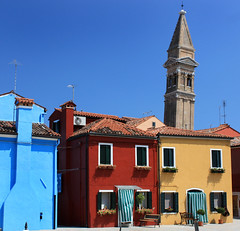 Burano tower (JarleR) Tags: city blue italy building tower colors architecture buildings town colours burano cityshapes