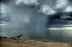 Distant Rain (bryanscott) Tags: gimli manitoba lake winnipeg rain clouds storm beach hdr sitm2bs sitm2bk