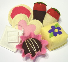 Felt Food Tea Party Sweets (GulfCoastCottagePDF) Tags: party food wool fruit bag dessert toy strawberry cookie pattern play heart tea felt plush covered plushie truffle petit fours dipped chocoate stuufed