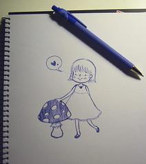 Girl loves mushroom