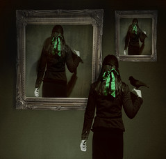 Your pictures (horriblecherry) Tags: green bird halloween girl photoshop vintage dark painting hair gothic magritte skirt etc ribbon aged crow raven observing surealism oldframe