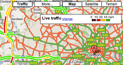 Google Adds Traffic Data To Google Maps UK - Search Engine Land on social media traffic, google map pin, mobile traffic, apple maps traffic, google search traffic, ted williams tunnel traffic, skype traffic, map directions with traffic, sms traffic, google map color key, blog traffic, google navigation traffic, nokia maps traffic, maps and traffic, maps driving directions traffic, google mspd, google map hong kong, web traffic, google live traffic,