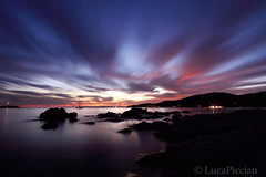 The day had fled (LucaPicciau) Tags: sardegna longexposure pink sea italy water colors misty night clouds dark flow evening noche coast boat rocks tramonto nuvole mare waves sardinia colours nuvola tide wave velvet lp tides absolute onda lupi soffice velluto risacca flusso picciau lucapicciau