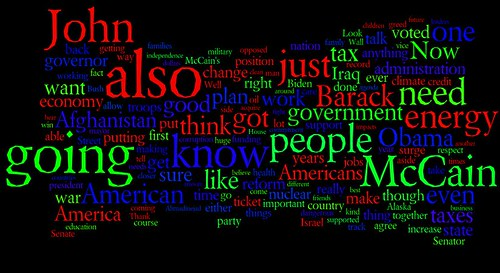 Palin VP Debate Word Cloud
