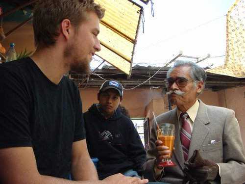 Christian and the Bolivian gentleman...Cochabamba Market.