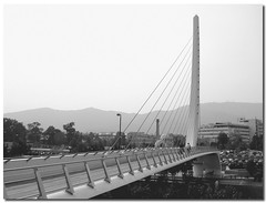 Katehaki Bridge, Athens, Greece, by jmhdezhdez (jmhdezhdez) Tags: city bridge luz architecture canon puente eos arquitectura footbridge contemporary steel engineering ciudad cable athens greece cables calatrava pasarela ascensor arco santiagocalatrava tablero acero barandilla nivel arquitecto ingeniería pilón ingeniero tirantes 400d removedfromadobelightroomfortags josémiguelhernándezhernández escalerametálica wwwjmhdezhdezcom