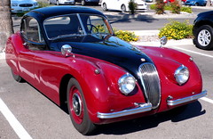 Jaguar- 19__? (Man_of Steel) Tags: arizona car vintage tucson jaguar oldcar redsportscar whatyear