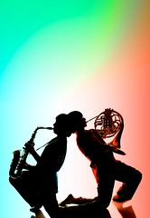 Red Blue Back to Back 1 (pkennethv) Tags: color silhouette triangle bend duo pair rgb frenchhorn saxophone
