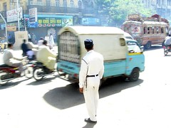 POLICE (Waseem Akbar) Tags: road pakistan light bus stand day police motorcycle karachi sindh whait