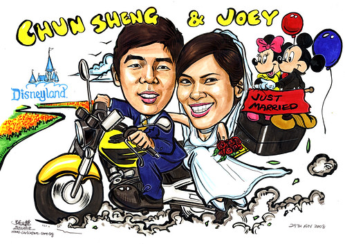 Couple wedding caricatures @ Disneyland A4