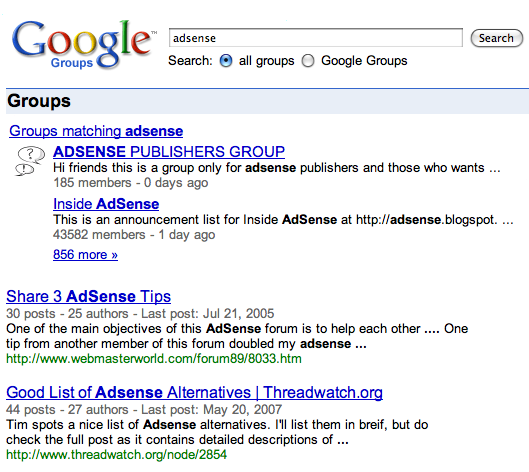 Google Groups Search