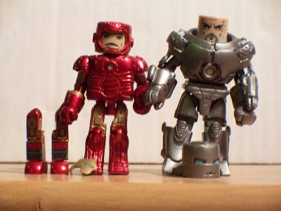 Unmasked Iron Man and Iron Monger