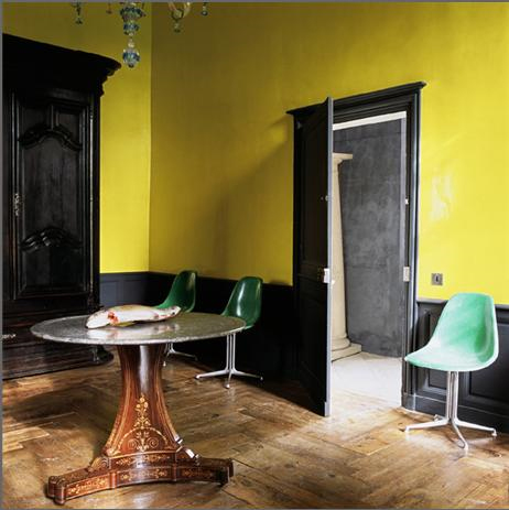 black trim yellow walls