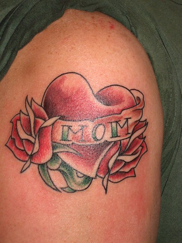 "Sacred Heart Tattoo, Lincoln (107) · ""MOM"" Heart and Banner"