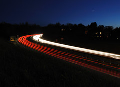 Dual Carriageway. (stonefaction) Tags: road cars landscape scotland scenery long exposure traffic fife trails headlights taillights faved explored