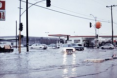 Harbor Blvd at Chapman Ave, Garden Grove, June 1971 (Orange County Archives) Tags: california history flooding flood gasstation target historical intersection southerncalifornia orangecounty gardengrove unocal union76 bobsbigboy fiat600 fedmart orangecountyarchives orangecountyhistory