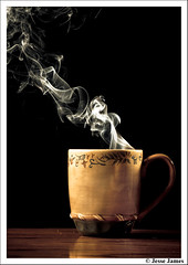 Smokin Coffee (Jesse James Photography) Tags: hot cup coffee photoshop nikon sb600 steam smoking tamron incense tamron90mm sb800 cupofcoffee offcameraflash adobelightroom strobist nikond300