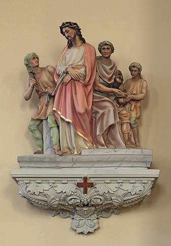 Saint Bernard Roman Catholic Church, in Albers, Illinois, USA - First Station of the Cross - Jesus is Condemned to Death