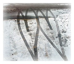Wait, don't shovel yet! (lynne_b) Tags: winter snow cars weather hearts office illinois seasons footprints driveway archives romantic shape threads tiretracks twohearts lookingouta2ndstorywindow