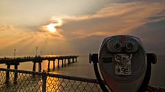 Turn to Clear Vision (re-edit) (Star Mountain Media) Tags: ocean sunset tower water clouds fence bay pier optical binoculars viewer chesapeake