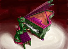 Torley on Piano - awesomelicious art by Wynter Bracken ( TORLEY ) Tags: pink black game green art up hat keys video concert hands doll soft neon dynamic natural personal stage seat linden great performance victorian piano style grand scene suzanne spotlight watermelon fluorescent painter blacks bracken whites organic tickle delicate 88 artrage brand renaissance entry branding pedal lid watermelons torley ivories sz casters wynter dayglow watermelonman pianofabrik zeluco personalbrand