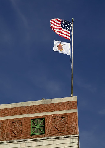 Anheuser-Busch Brewery, in Saint Louis, Missouri, USA - flags