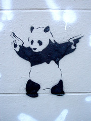 Paris, France (breton_marie) Tags: white black paris graffiti stencil panda tag tags guns graff tagg paname taggeur pistolets mariebreton