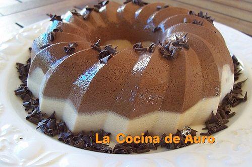 tarta flan dos chocolates