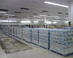 Water stacked and ready for distribution in Iowa