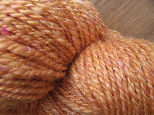 Orange silk batts' yarn