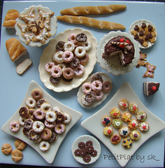 miniature food en masse (PetitPlat - Stephanie Kilgast) Tags: food cake fruit butterfly pie bread miniature cookie handmade polymerclay baguette donuts minifood sk tart tarts dollhouse gateau dollshouse miniaturefood petitplat stephaniekilgast