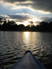 Have a Good Evening (deu49097) Tags: sunset sky lake clouds kayak
