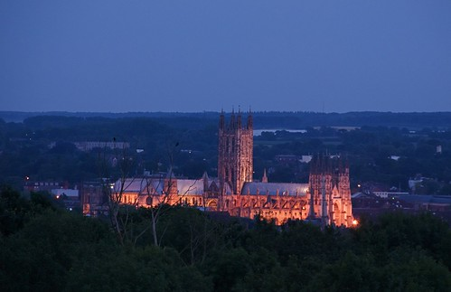 Canterbury Cathedral at dusk, as seen from the University of Kent. ACNS/Gunn