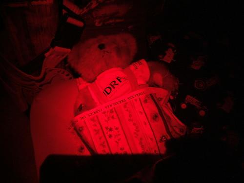 Diabetes Bear tucked in beside J.J.