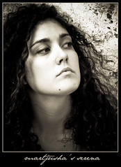 Portrait of a musician (Martjusha) Tags: portrait bw italy woman black rome roma girl stone wall sepia donna eyes women italia expression serena ritratto viso blackdiamond martjusha