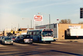 Westbound pre Pace Suburban Transit bus in the southbound turning lane at South Archer and Harlem Avenues. Chicago Illinois. April 1988. by Eddie from Chicago