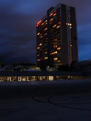 Robot (salsebin) Tags: night contrast skyscraper concrete gloom asphalt beton augsburg hochhaus nachts dster kontroaste